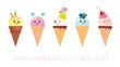 Kawaii ice cream cone characters. Cute cartoons isolated on white.