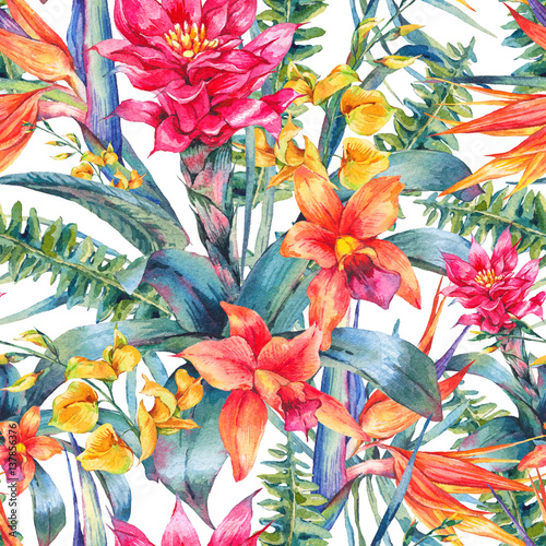 Watercolor vintage floral tropical seamless pattern - 137856376
