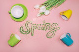Word SPRING made of greenery glitter