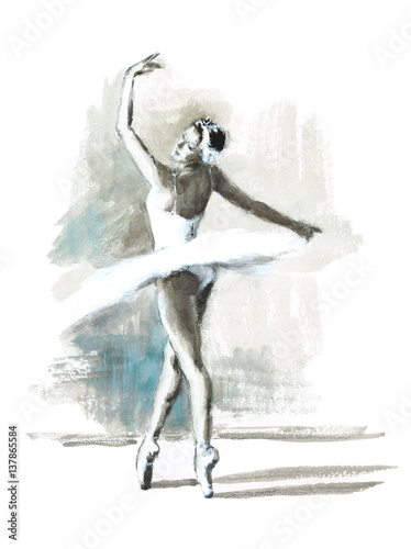 Watercolor Ballerina Hand Painted Ballet Dancer Illustration - 137865584