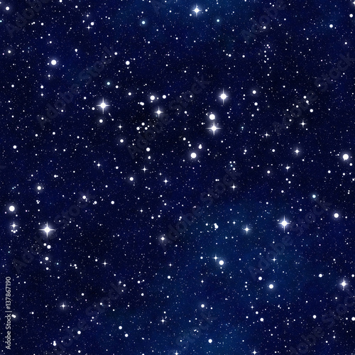 Cotton fabric Seamless  pattern   of starry sky
