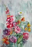 акварельная живопись, весенний букет цветов