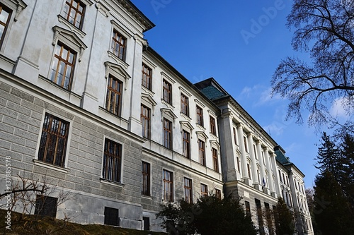 Poster Neo-renaissance building of mining academy in Banska Stiavnica, Slovakia, now a residence of chemical highschool of Samuel Mikovini