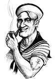Smiling retro sailor with smoking pipe - 137886784