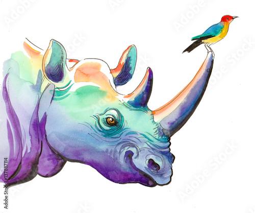 Rhino and bird - 137887114