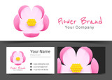 Flower Corporate Logo and Business Card Sign Template. Creative Design with Colorful Logotype Visual Identity Composition Made of Multicolored Element. Vector Illustration