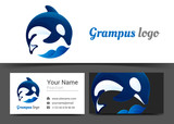 Grampus Corporate Logo and Business Card Sign Template. Creative Design with Colorful Logotype Visual Identity Composition Made of Multicolored Element. Vector Illustration