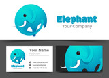 Modern Elephant Corporate Logo and Business Card Sign Template. Creative Design with Colorful Logotype Visual Identity Composition Made of Multicolored Element. Vector Illustration