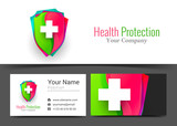 Health Protect Corporate Logo and Business Card Sign Template. Creative Design with Colorful Logotype Visual Identity Composition Made of Multicolored Element. Vector Illustration