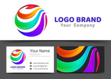 Corporate Logo and business card sign template. Creative design with colorful logotype business visual identity composition made of multicolored element. Vector illustration
