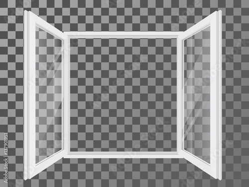 White open double plastic window with transparent and reflective glass. Vector detailed illustration. - 137901951
