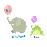 Illustration Isolated Alphabet Letter E-elephant,F-frog