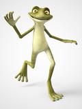 3D rendering of happy cartoon frog waving.