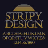 Golden striped capital letters and numbers. Decorative vintage font. Isolated english alphabet with text Stripy Design.