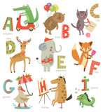 Fototapety Zoo Alphabet for children. Set of letters and illustrations. Cute animals