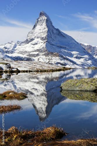 Poster Alps Peak Matterhorn with reflection on the Stellisee Lake, Zermatt, Switzerland