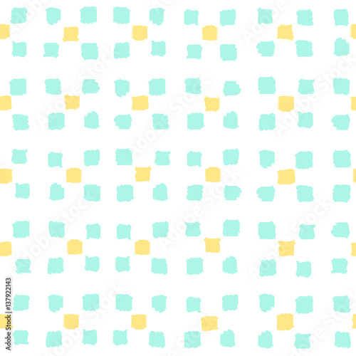 Small paint squares background. Vector hand drawn seamless pattern - 137922143