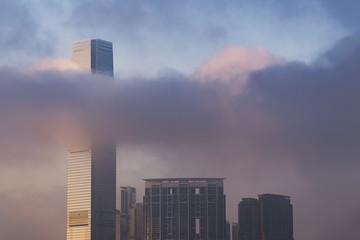 Skyline of Hong Kong city under sunset