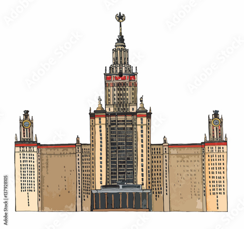 Foto op Canvas Texas Hand drawn sketch architecture illustration of Moscow State University Russia colored vector