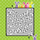 Labyrinth. Easter image.  Help to find a correct way home. Design image. Template.
