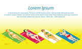 Isometric girls sunbathing on the beach on towels. Tan concept. Template frame for certificate, leaflet, poster. Vector border with place for text.