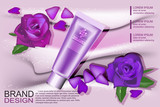 Pattern cosmetic advertising, cosmetic empty layout with purple, cream and rose cosmetic bottle, tube.