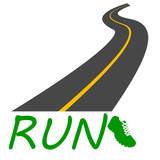 strada con scritta Run e scarpa disegno vettoriale