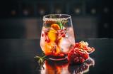 Glass of pomegranate and orange juice