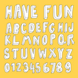 hand drawn 3d cartoon font collection - 137954110