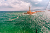 Lighthouse in cloudy morning in Chania, Crete, Greece