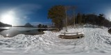 VR 360 degree video of lake Almsee in winter