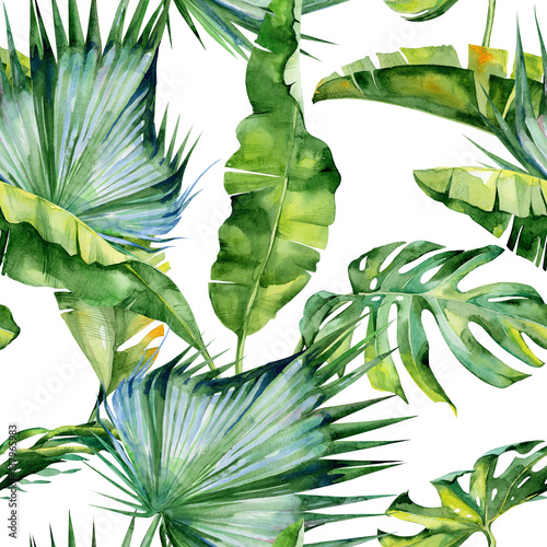 Fototapeta Seamless watercolor illustration of tropical leaves, dense jungle. Pattern with tropic summertime motif may be used as background texture, wrapping paper, textile,wallpaper design.