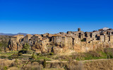 Pitigliano, Grosseto, tuscany, italy, panoramic view of the medieval village on the tuff hill