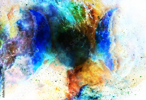 Keuken foto achterwand Vlinders in Grunge flying butterfly in cosmic space and moon. Painting with graphic design.