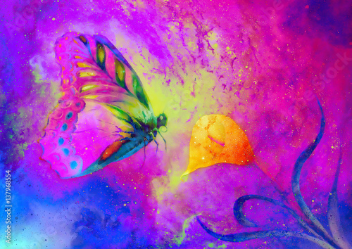flying butterfly with cala flower in cosmic space. Painting with graphic design.