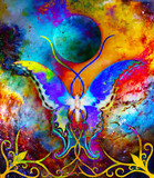 butterfly in cosmic space and moon with ornament. Painting and graphic design.