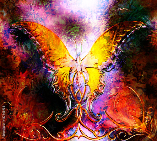 butterfly in cosmic space. in fire flame. graphic design and glass effect.
