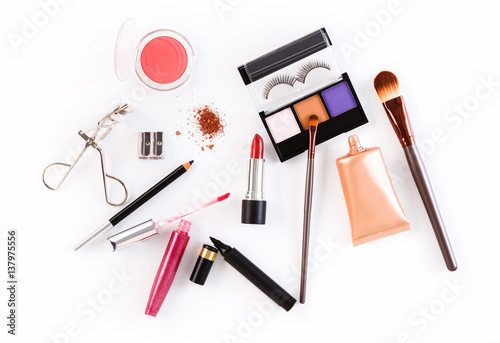 Makeup cosmetics tools and essentials, flat lay on white background © Prostock-studio