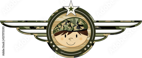 Cute Cartoon Camouflage Army Soldier Badge