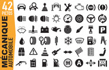 42 Pictos - Icônes  - Voiture - Mécanique - Automobile - Garage - Auto