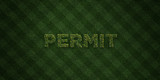 PERMIT - fresh Grass letters with flowers and dandelions - 3D rendered royalty free stock image. Can be used for online banner ads and direct mailers..