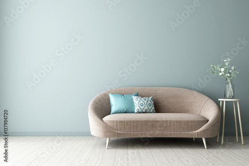 3d illustration of empty wall interior design