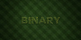 BINARY - fresh Grass letters with flowers and dandelions - 3D rendered royalty free stock image. Can be used for online banner ads and direct mailers..