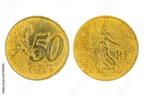 Poster Front and back France 2001 fifty cents, RF Euro currency isolated on white backg