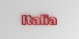 Italia - Red glass text on white background - 3D rendered royalty free stock image.