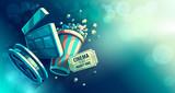Online cinema art movie watching with popcorn - 138000929