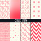 Fototapety set of eight pink and beige patterns