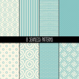 Fototapety set of eight turquoise and beige patterns