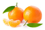 Fototapety tangerines or clementines with green leafs and slices isolated on white background