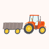 Red tractor with trailer. Toy tractor.